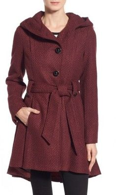 f9d9df39eac Women s Steve Madden Belted Hooded Skirted Coat