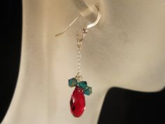 Red and green Swarovski crystal and sterling silver by KylesStyles