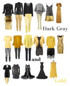 """""""Color Combo: Dark Gray and Gold"""" by capfan2014 on Polyvore featuring Zhenzi, TIBI, LE3NO, Topshop, S.L. Fashions, Untold, Raoul, H&M, Current/Elliott and Lands' End"""