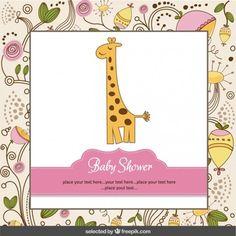 Cartão do chuveiro de bebê com girafa e fundo floral