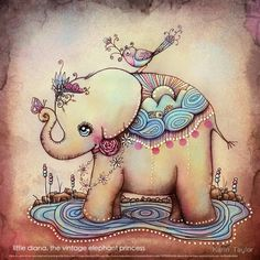 Little Diana the Vintage Elephant Princess painting by Karin Taylor prints and cards available from online store http://www.redbubble.com/people/karin/works/10790954-little-diana-the-vintage-elephant-princess visit Karin's online art gallery and print shop http://www.redbubble.com/people/karin/works/10790954-little-diana-the-vintage-elephant-princess Follow Karin on FB https://www.facebook.com/karintaylor.online