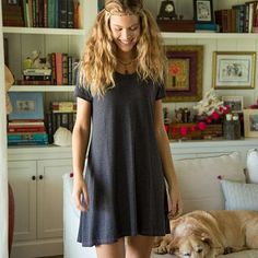 Charcoal Hangout Dress - This charcoal dress makes getting ready effortless! A-line shape and fun contrast stitching with a hemline that rests just above the knee. Perfect for just hanging out!