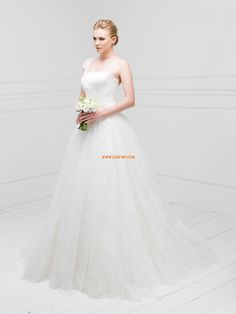 Glamoroso & Dramático Apliques fecho Vestidos de Noiva 2014