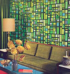That wallpaper makes me dizzy! Living room design from the Home Furnishings Guide, 1967.