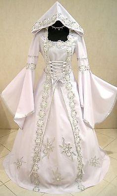 Silver Medieval Wedding Dress Victorian Goth s M 10 12 14 Queen Renaissance Robe   eBay