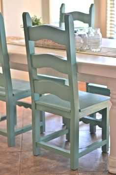 Spray paint color for chairs is Jade by Krylon. Great color! ~ I am so doing this to go with my white and gray dinning room table my hubby is going to build me!!!