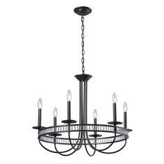Elk Lighting Braxton 6-light Aged Bronze Chandelier - Overstock™ Shopping - Great Deals on ELK LIGHTING Chandeliers & Pendants