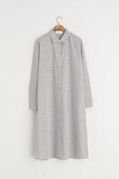 Double Stripe Long Shirt Dress, Black, 100% Cotton