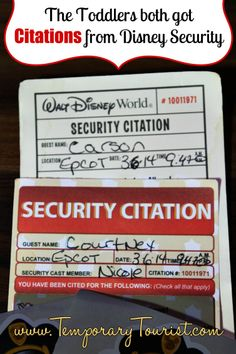 """Both Babies got Citations from Walt Disney World Security Last Night!!! -- I did not even know this was possible!  Cute """"citations"""", though!"""