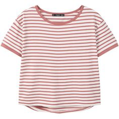 Striped Cotton T-Shirt (£13) ❤ liked on Polyvore featuring tops, t-shirts, shirts, cotton t shirts, mango tee, mango t shirt, short sleeve t shirts and stripe tee
