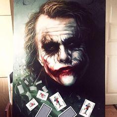 NEW - 'Joker of the Pack' Original oil on board Der Joker, Heath Ledger Joker, Joker Art, Batman Joker Wallpaper, Joker Wallpapers, Joker 2008, Joker Photos, Joker Painting, Joker Drawings