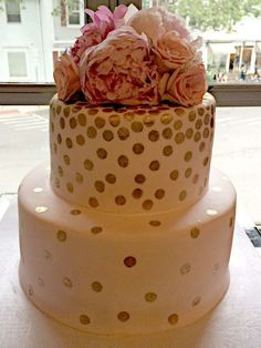 Blush sparkle cake from a pink and gold bridal shower party! See more party planning ideas at CatchMyParty.com!