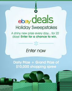 I just entered the eBay Deals Holiday Sweepstakes for a chance to WIN a $10,000 shopping spree PLUS a new prize every day! Enter now, Sweeps ends on 11/22.