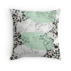 Terrazzo Design Throw Pillow @redbubble #terrazzo #stone #concrete #print #design #pillow #cushion #interiordesign #designlovers #interior #redbubble #redbubblecreate #redbubbleartist #designtrend #pillows #pastels