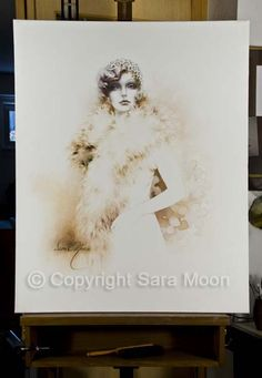 Original Sara Moon Artwork For Sale Moon Painting, Painting & Drawing, Canvas Size, Oil On Canvas, Original Artwork, Illustrations, The Originals, Coffee, Gallery