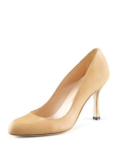Foka+Round-Toe+Leather+Pump,+Camel+by+Manolo+Blahnik+at+Neiman+Marcus.