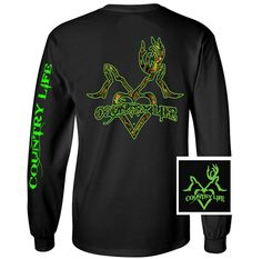 Country Life Outfitters Black & Green Deer Kiss Heart Love Hunt Vintage Long Sleeve Bright T Shirt Available in sizes Adult Picture is of the back of the shirt, Front of the shirt has Backwoods logo Cute Tshirts, T Shirts, Simply Cute Tees, Hunting Camo, Preppy Southern, Material Girls, Country Life, Jeans And Boots, Graphic Sweatshirt