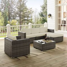 Sea Island 6 Piece Wicker Sectional Set In Gray, Brown, Crosley Furniture, Outdoor Patio Furniture Outdoor Seating, Outdoor Sofa, Outdoor Living, Outdoor Furniture Sets, Outdoor Decor, Furniture Ideas, Modern Furniture, French Furniture, Farmhouse Furniture