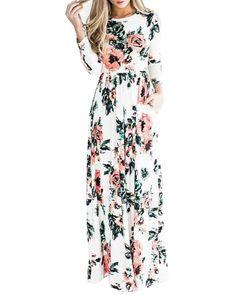OSNIC Women Floral A-Line Print Long Sleeve Boho Dress Ladies Evening Party Dress Long Maxi Casual Dress