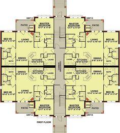 Plan Story Unit Apartment Building House Plans