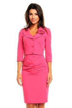 Pink Dress + Blazer Set Elegant Office Wear Style