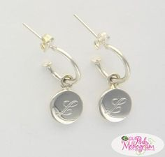Monogrammed silver discs dangle from these small hoop earrings Perfect for any outfit and any occasion These are perfect first dangles www.thepinkmonogram.com