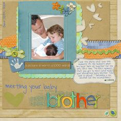 Meeting Baby Brother scrapbook page