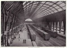 An poster sized print, approx (other products available) - A view of the platforms at the terminus for the Great Northern Railway, designed by the architect Lewis Cubitt, built in - Image supplied by Mary Evans Prints Online - Poster printed in the USA Victorian London, Vintage London, Old London, Victorian Era, London History, British History, Uk History, Fine Art Prints, Framed Prints