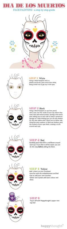 Beautifully illustrated Calavera sugar skull design. FREE skull face paint photos and homemade ideas. Turn heads at any Dia de los Muertos celebrations. #dayofthedead https://happythought.co.uk/day-of-the-dead/skull-face-paint-tutorial