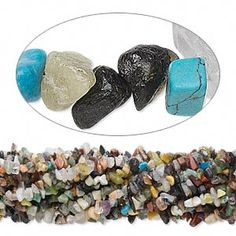 Bead, multi-gemstone (natural / dyed / manmade), medium chip. Sold per pkg of (10) 36-inch strands.