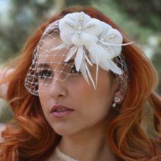 Birdcage veil Crystal bridal Headpiece by Juliethoneybridal
