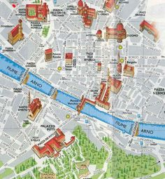 Places of interest map of Florence (Firenze), Italy.