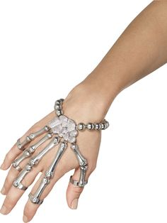 You can buy a Skeleton Hand Bracelet from the Halloween Spot. This silver coloured hand bracelet will look great with any Halloween costume in Halloween party. Halloween Schmuck, Halloween Jewelry, Halloween Accessories, Costume Accessories, Skeleton Hand Bracelet, Skeleton Gloves, Skeleton Hands, Hand Armband, Fancy Dress Accessories