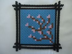 Cherry Blossom Framed perler beads by PerlerHime