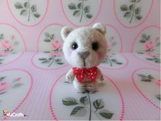 Gregorio in love ready for his first date - needle felted bear by MJ Crafts