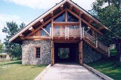 stone and log barn