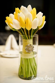 White and Yellow Tulip Bouquet with brooch wrap