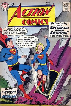 Superman CGC C-OW Supergirl Tryout. Superman was DC's way of knowing whether or not Supergirl would be a good character or not. Dc Comic Books, Comic Book Covers, Comic Book Characters, Comic Character, Comic Art, Main Character, Dc Comics, Action Comics 1, Old Superman