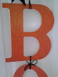 BOO Halloween Door Hanger Halloween Wreath with by DitzyDesign