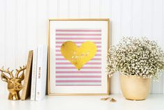 Love heart gold foil print/ pink and white by TradeandUnion