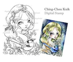 Fairy Wren - Digital Stamp Instant Download / Art by Ching-Chou Kuik
