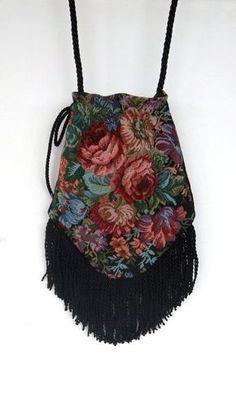 """Victorian Floral Bag with 4"""" Black FringeTrim  Rose Floral Tapestry  Gypsy Bag  Boho Bead Bag  Cross Body Bag"""