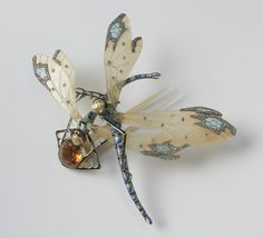 Alternate view of the Lucien Gaillard  comb with dragonflies, c.1904 -  See Board 1 for other pins