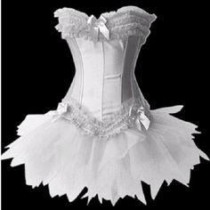 $21 White Sexy Satin Lingerie Corset Bustier Mini Tutu Skirt Fancy Dress Costume