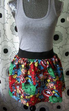 The Avengers Comic Thor Captain America Iron Man Spiderman Wolverine Hulk Elastic Mini Flippy Skirt. $35.00, via Etsy.