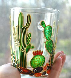 Cactus mug Painted glass mug Personalized mug Succulent gift Painted glassware Stained Glass Designs, Stained Glass Art, Cactus, Elephant Mugs, Homemade Face Paints, Succulent Gifts, Painted Mugs, Hand Painted Wine Glasses, Bottle Painting