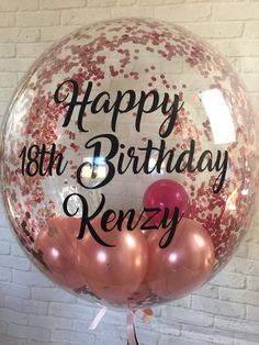 Personalised Birthday Balloon Helium Inflated Bespoke Rose Gold