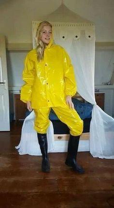 Raincoats For Women April Showers Vinyl Raincoat, Pvc Raincoat, Yellow Raincoat, Hooded Raincoat, Wellies Rain Boots, Black Rain Boots, Vinyl Clothing, Rubber Raincoats, Country Wear