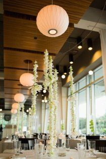 beautiful idea - hanging orchids w paper lantern.