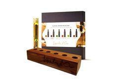 Leuk als cadeau voor Sinterklaas of Kerst. Dit proefpakket met olijfolie tubes inclusief houder van Liquido d'Oro.